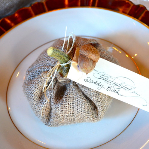 #Handmade Cloth Pumpkins with Natural Stems Used as Placecard Holders#AfterOrangeCounty.com #Fall Decor