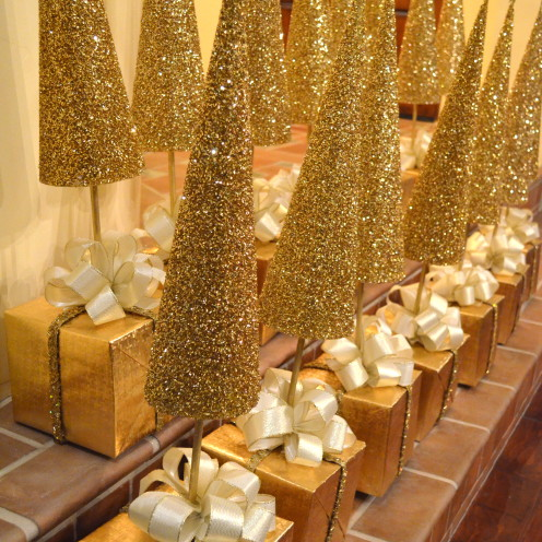Diy Golden Christmas Tree Centerpieces A Tutorial After Orange