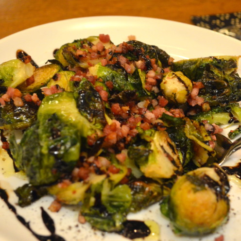 Charred Brussel Sprouts, Shallots & Garlic + Spanish Jamon  | www.AfterOrangeCounty.com