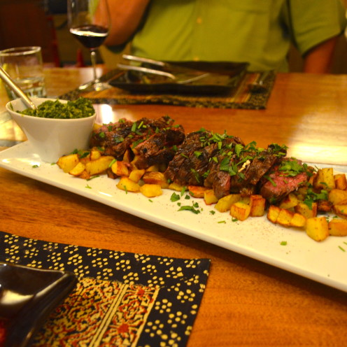 Sliced serloin with Salsa Verde & Patatas Bravas | www.AfterOrangeCounty.com