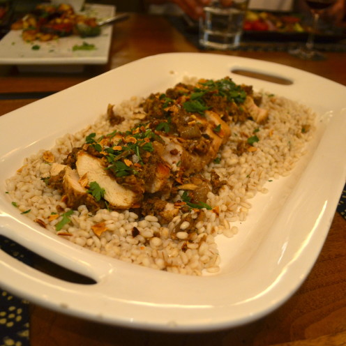 Garlic Chicken Almondine on Barley | www.AfterOrangeCounty