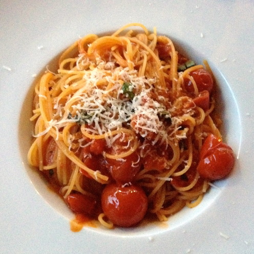 capellini pasta with fresh cherry tomatoes sauce | Cafe Milano | www.AfterOrangeCounty.com