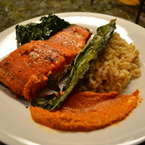 Grilled Salmon over Barley with Sauteed Kale & Romesco Sauce | www.AfterOrangeCounty.com