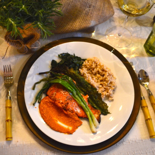 Grilled Salmon with Romesco Sauce over Barley with Sauteed Kale, Recipes @  www.AfterOrangeCounty.com