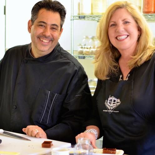 John Shrader & Celia Becker at The Cooking Block | www.AfterOrangeCounty.com