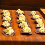CEVICHE ON CORN CRISPS WITH AVOCADO AND RED ONION