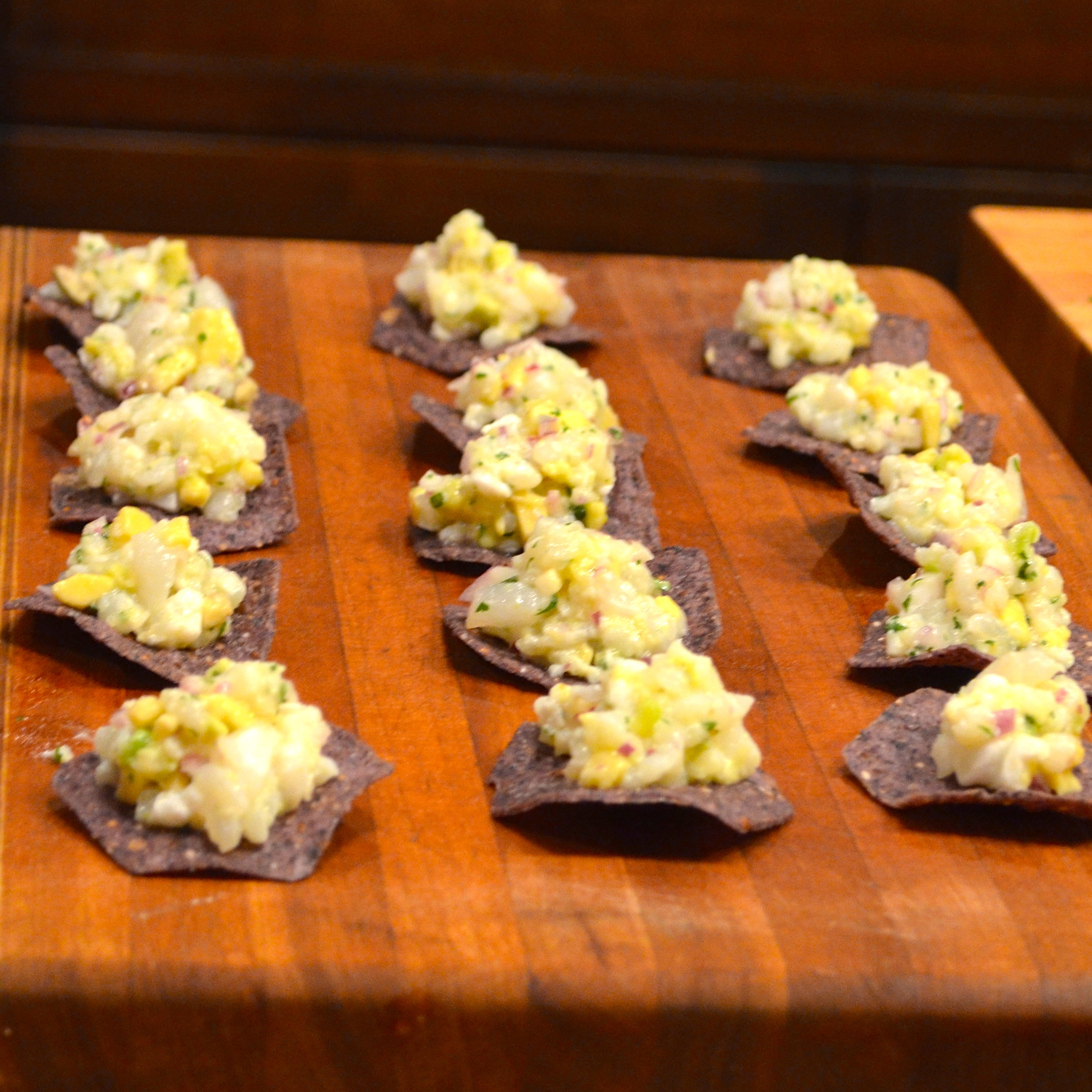 CEVICHE ON CORN CRISPS WITH AVOCADO AND RED ONION | Recipe @ www ...