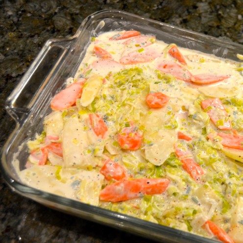 PARSNIP, CARROT AND LEEK GRATIN   Recipe By www.AfterOrangeCounty.com