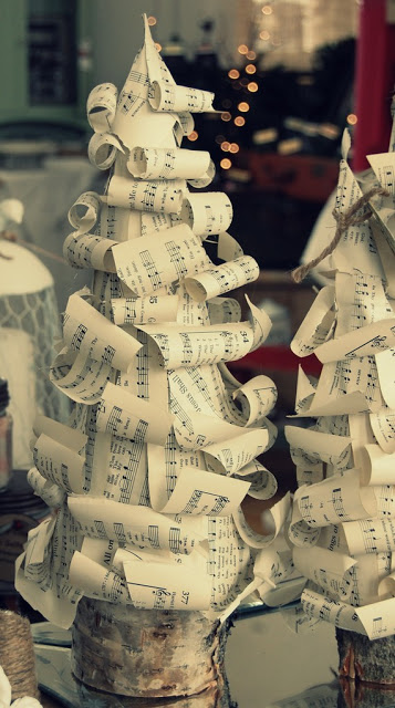 Music Themed Christmas Ornaments.Vintage Sheet Music Christmas Trees