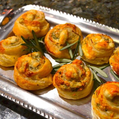 BLUE CHEESE AND ROSEMARY PINWHEELS RECIPE | www.AfterOrangeCounty.com