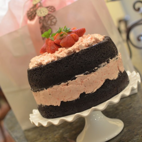 DARK CHOCOLATE CAKE WITH FRESH STRAWBERRY BUTTERCREAM | www.AfterOrangeCounty.com