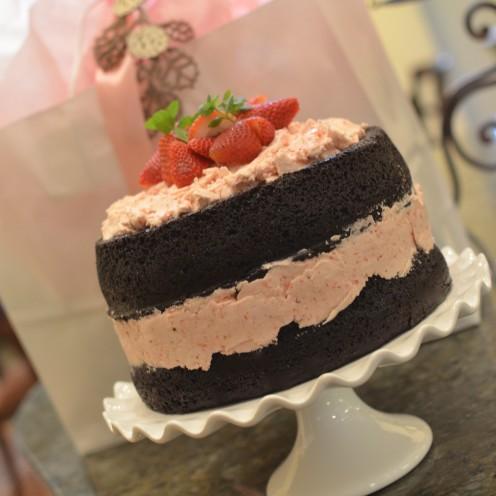 DARK CHOCOLATE CAKE WITH FRESH STRAWBERRY BUTTERCREAM | www.AfterOrangeCounty.com