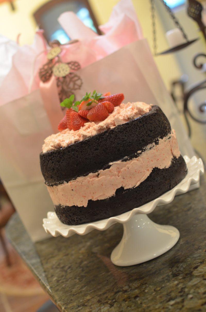 DARK CHOCOLATE CAKE WITH FRESH STRAWBERRY BUTTERCREAM - After ...