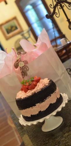 DARK CHOCOLATE CAKE WITH FRESH STRAWBERRY BUTTERCREAM | Recipe @ www.AfterOrangeCounty.com