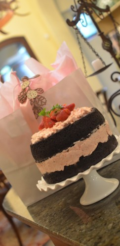 DARK CHOCOLATE CAKE WITH FRESH STRAWBERRY BUTTERCREAM |Recipe @ www.AfterOrangeCounty.com