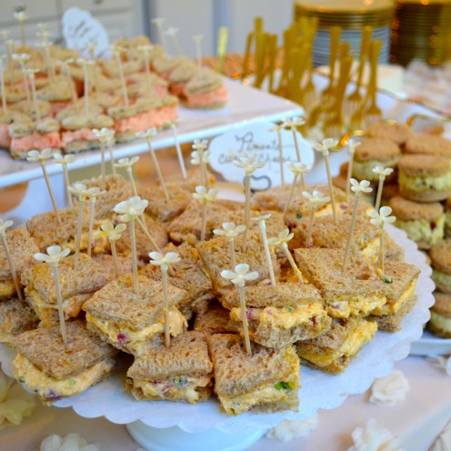 HOW TO HOST A BEAUTIFUL BRIDAL SHOWER | www.AfterOrangeCounty.com | #Pimento Goat Cheese Sandwiches