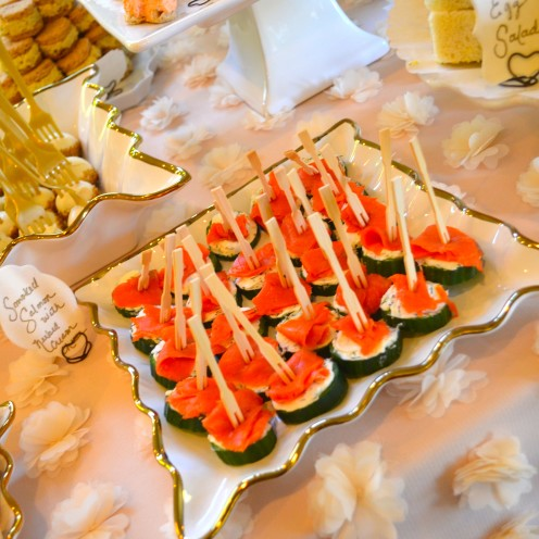 HOW TO HOST A BEAUTIFUL BRIDAL SHOWER | www.AfterOrangeCounty.com |#Smoked #Salmon and Cream Cheese Cucumber Bites