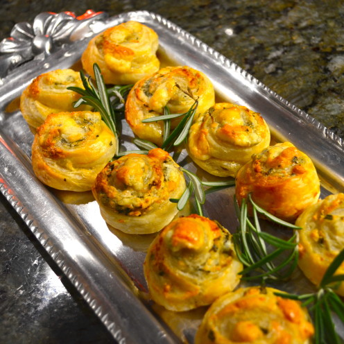 BLUE CHEESE AND ROSEMARY PINWHEELS | Recipe by Celia at www.AfterOrangeCounty.com