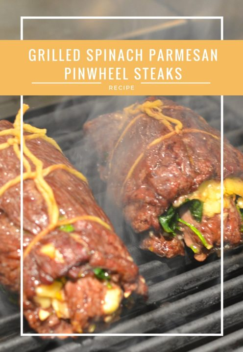 GRILLED SPINACH PARMESAN PINWHEEL STEAKS | Recipe at www.AfterOrangeCounty.com