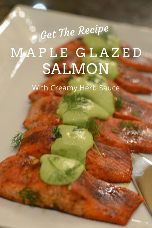 MAPLE GLAZED SALMON WITH CREAMY HERB SAUCE | www.AfterOrangeCounty.com