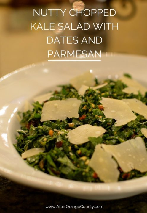 NUTTY CHOPPED KALE SALAD WITH DATES AND PARMESAN Recipe | www.AfterOrangeCounty.com