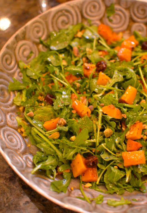 SUNDAYS WITH CELIA VOL 17   Arugula Salad with Roasted Butternut Squash, Dates & Toasted Pistachios   www.AfterOrangeCounty.com