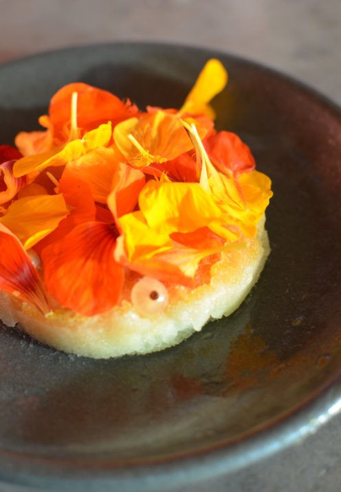 DINING AT THE ACCLAIMED HOGSTONE WOOD OVEN   Cucumber Sorbet with Nasturtium & White Currents   www.AfterOrangeCounty.com