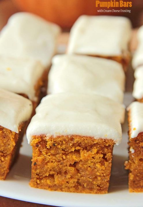 One Dozen Delicious Pumpkin Desserts | Pumpkin Bars with Cream Cheese Frosting | www.AfterOrangeCounty.com