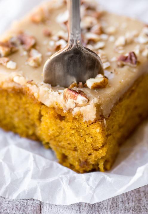 One Dozen Delicious Pumpkin Desserts | Pumpkin Cake with Pecan Praline Frosting | www.AfterOrangeCounty.com