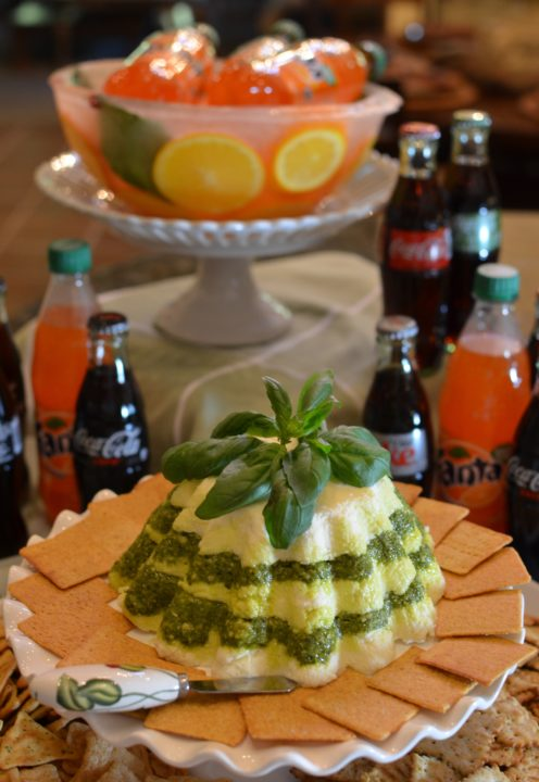 EASY YET ELEGANT HOLIDAY SNACK IDEAS | CREAM CHEESE & PESTO CHRISTMAS MOLD pairs with Wheat Thins & Coca-Cola | www.AfterOrangeCounty.com