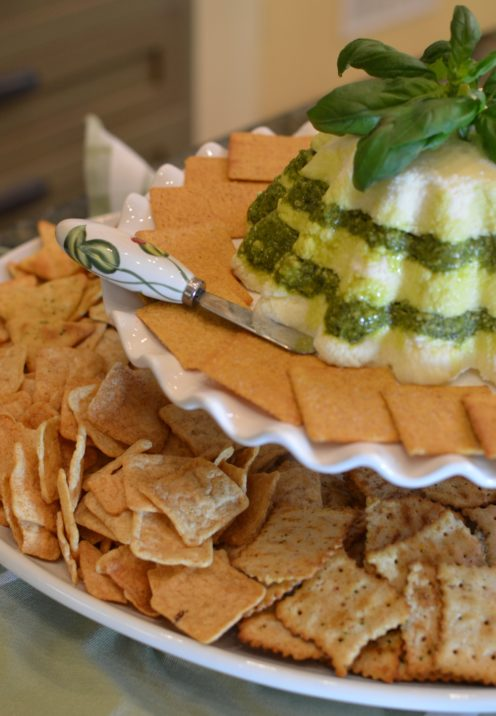 EASY YET ELEGANT HOLIDAY SNACK IDEAS | CREAM CHEESE & PESTO CHRISTMAS MOLD pairs with Wheat Thins | www.AfterOrangeCounty.com