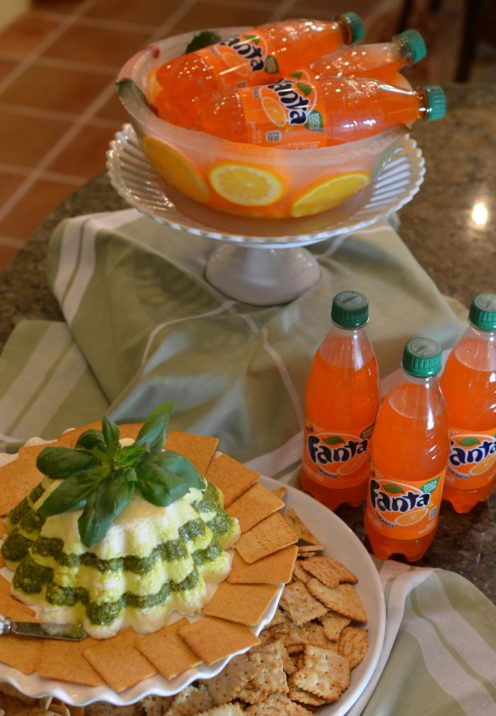 EASY YET ELEGANT HOLIDAY SNACK IDEAS | CREAM CHEESE & PESTO CHRISTMAS MOLD pairs with Wheat Thins & Fanta by Coca-Cola | www.AfterOrangeCounty.com