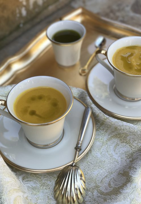 GOLDEN BELL PEPPER SOUP WITH BASIL OIL | Recipe @ www.AfterOrangeCounty.com