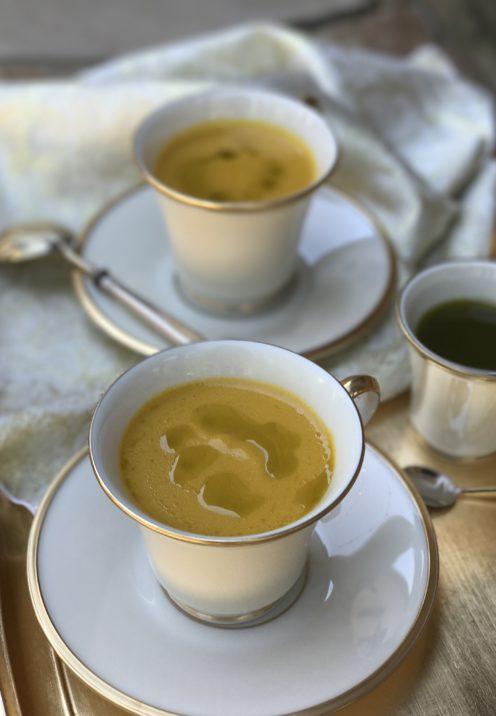 GOLDEN BELL PEPPER SOUP WITH BASIL OIL | Recipe @ www.AfterOrangeCounty.com