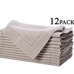 Pure Linen Oversized Napkins 12 Pack - Hemstitch Napkins | www.AfterOrangeCounty.com