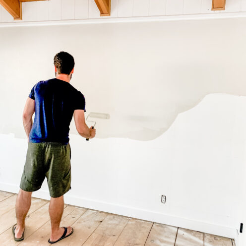 BIG BEAR LAKE HOUSE KID'S ROOM REMODEL | Painting the mountain mural | www.AfterOrangeCounty.com