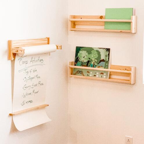 BIG BEAR LAKE HOUSE KID'S ROOM REMODEL | IKEA MALA Paper Holder and IKEA Book Shelves | www.AfterOrangeCounty.com