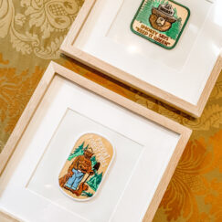 BIG BEAR LAKE HOUSE KID'S ROOM REMODEL | Embroidered Patches as Art | Smokey Bear | www.AfterOrangeCounty.com