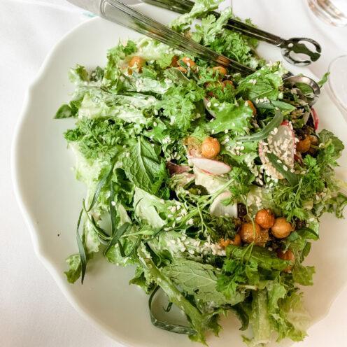 CHECKING INTO THE KIMPTON LA PEER HOTEL | Viale dei Romani Trattoria | Little Gems Salad with cecci, preserved lemon & Tahini Vinaigrette | www.AfterOrangeCounty.com