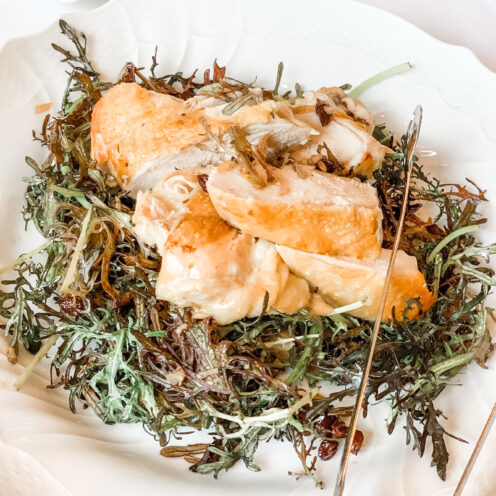 CHECKING INTO THE KIMPTON LA PEER HOTEL | Viale dei Romani Trattoria | Wood Roasted Chicken over Bread Salad with Mustard Frill and Banyuls Vinaigrette | www.AfterOrangeCounty.com