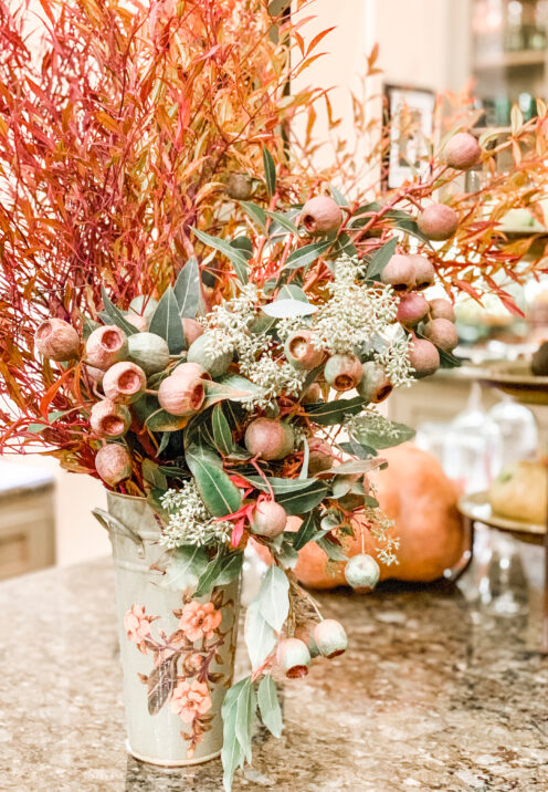 SUNDAYS WITH CELIA VOL 97 | Friendsgiving Tablescape | Centerpiece of greens |www.AfterOrangeCounty.com #Thanksgiving #Tablescape