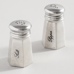 SMART IDEAS AND TIPS FOR ORGANIZING YOUR KITCHEN PANTRY |  Antique Silver Sentiment Salt & Pepper Shakers | www.AfterOrangeCounty.com | #Pantry #Kitchen #HomeOrganization #SaltShaker #PepperShaker