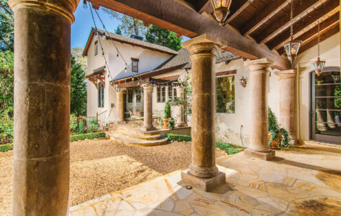 SUNDAYS WITH CELIA VOL 104 | Lake Arrowhead House For Sale | Exterior Courtyard Pavillon | www.AfterOrangeCounty.com #Lake Arrowhead #HouseForSale #Lake ArrowheadRealEstate